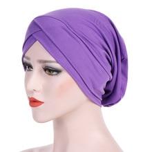 New Elastic Jersey Female Turban Cap Muslims Women Hijab Bonnet Hats Modal Indian Wrap Multicolor Cross Islamic Headscarf Hat недорго, оригинальная цена