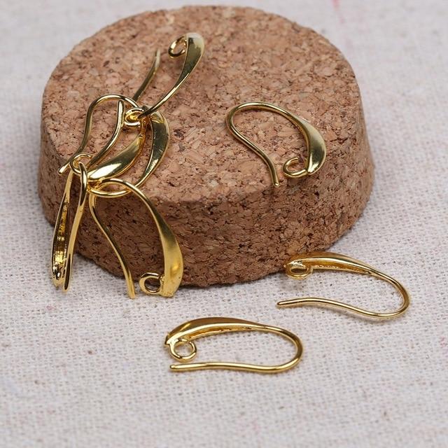 Reidgaller 50pcs Lot 10x19mm Gold Plated Copper Ear Wire Hooks Diy Earring Findings For