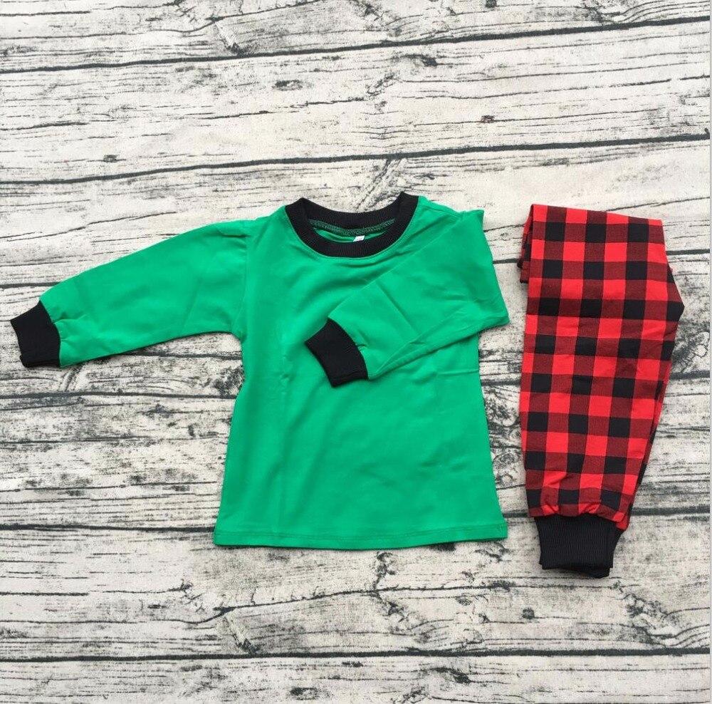 Personalized Kids Christmas Pajamas outfits green red plaid children pajamas baby wear clothes pajamas