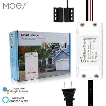 Controlador inteligente de puerta de garaje con WiFi, aplicación remota Smart Life/Tuya Compatible con Alexa Echo, se requiere sin HUB Google Home