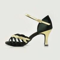 Salsa Dance Shoe Brand Modern Party Ballroom Women Latin Shoes Adult Sports Dancing Sneakers Buckle Black