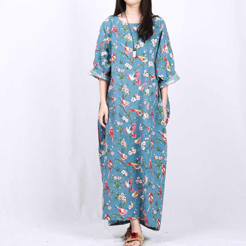 ... Plus Size Floral Women Dress 2018 Summer Long Maxi Dress Half Betwing Sleeve  Cotton Linen Back ... 765717617161