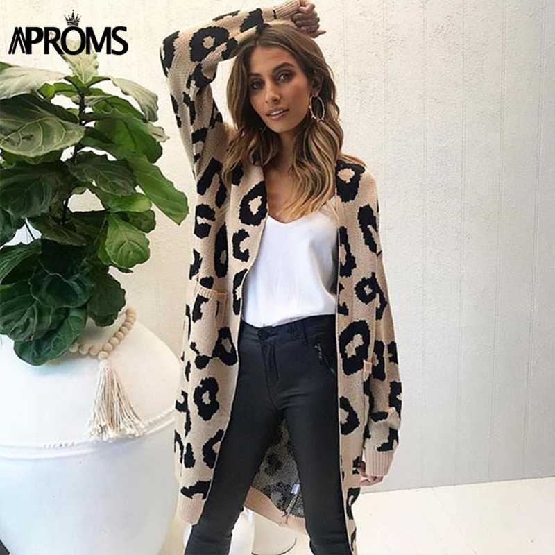 Aproms Leopard Print Knitted Long Cardigan Female Loose Coat Open Stitch Jumper 2018 Autumn Winter Sweater Women Overcoat