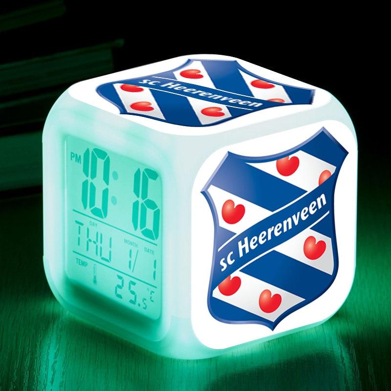 sportclub heerenveen night light color flash digital clock. Black Bedroom Furniture Sets. Home Design Ideas