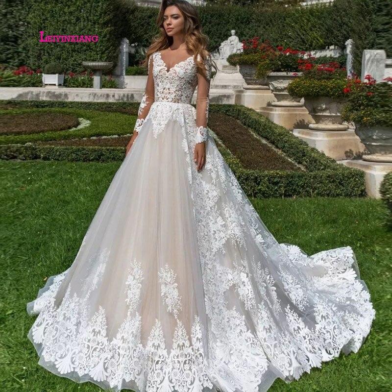 LEIYINXIANG New Arrival 2019 Wedding Dress Sexy V-Neck Appliques A-Line Lace Bride Romatic Gowns vestidos de novia