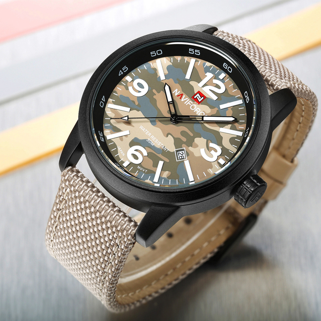 532bd9501e5 Relógios Homens Moda Casual NAVIFORCE Marca Nylon Militar relógios de Pulso  de Quartzo dos homens Assistir