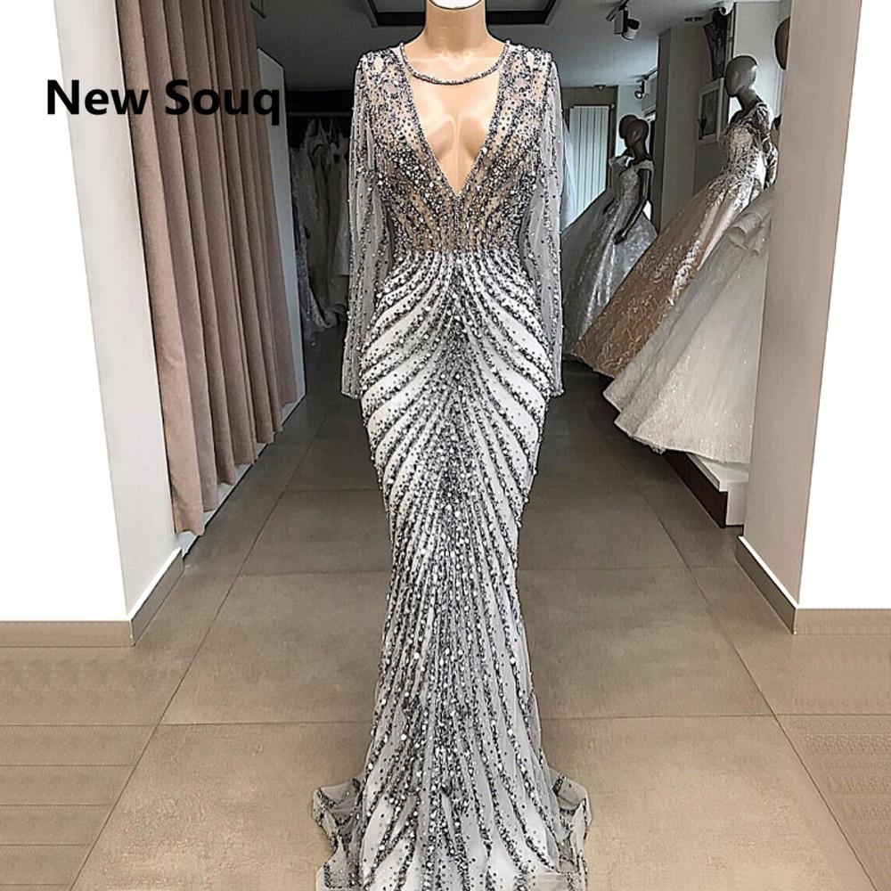 Luxury Crystal Beaded Middle East Dubai Evening   Dresses   Illusion V-neck Long Sleeves Mermaid Party   Prom     Dress   Vestido De Festa