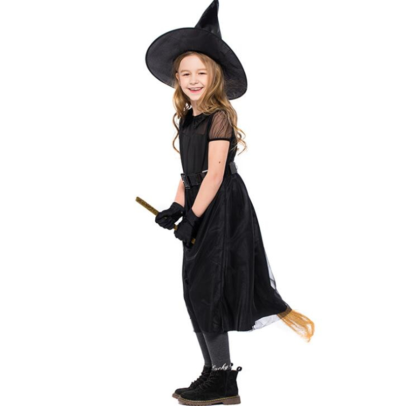2018 Children Witch Cosplay Halloween Costume For Kids Carnival Girls Cosplay Clothing