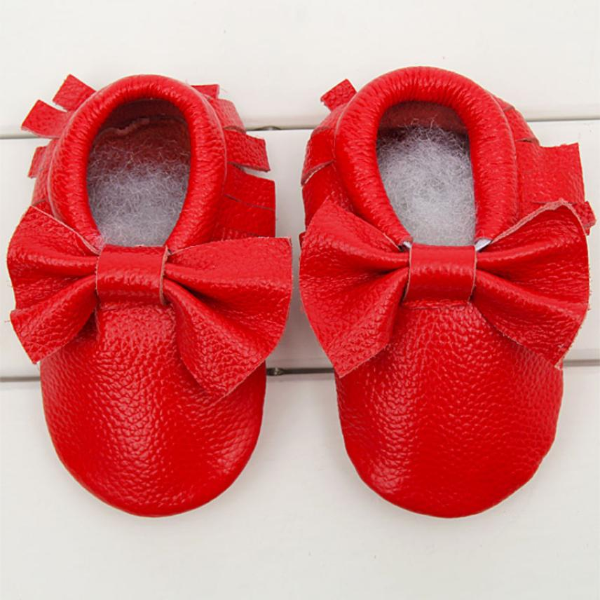 2018 Baby Moccasins Bow Shoes Firstwalker Anti-slip Leather Infant Shoes
