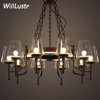 Willlustr white clear glass shade hanging lighting LED pendant lamp iron industry rest room restaurant loft Bar suspension Light