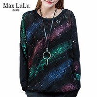 Max LuLu Fashion Korean Designer Ladies Black Knitted Knitwear Womens Autumn Casual Sweater Striped Jumper Woman Cotton Pullover