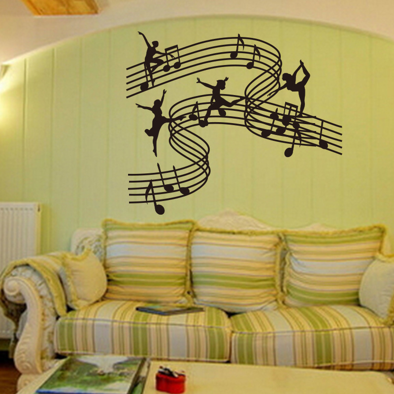 stave music dance girl vinyl wall decal stickers home decor school ...