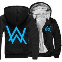 2017 Hoody Hoodies Men Winter Jackets and Coats Faded Alan Walker Hoodie M 5XL Luminous Thick Zipper slim Men Sweatshirts