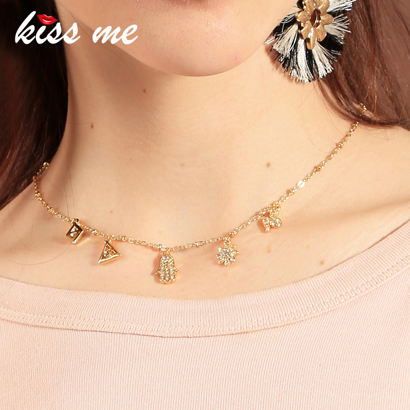 KISS ME Simple Rhinestone Hand/Flower/ Snake Pendant Necklace 2018 Hot Sale Women Jewelry Accessories
