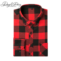 DAVYDAISY Casual Shirts Men Spring Long Sleeved Western Style Leisure Flannel Plaid Shirt Male Chemise Homme