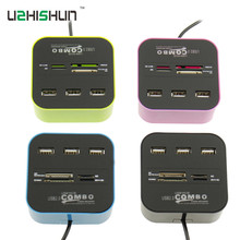 Micro USB Hub 2.0 3 Ports Combo Card Reader All In One Multi USB Splitter For MS,M2,SD/MMC,TF Portable For Laptop PC Tablet