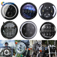 Black/Chrome motorcycle headlight 7 inch halo angel eyes DRL LED Headlamp for Harley street Glide Softail 7'' H4 LED Daymaker
