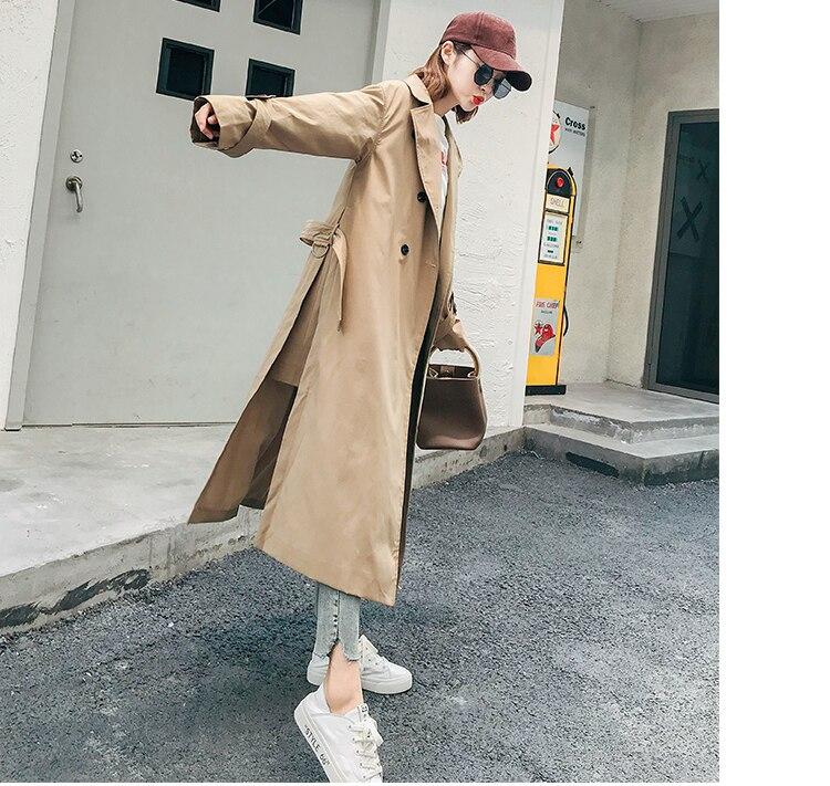 Classique Femme Avec uni Blet automne Automne vent Nouvelle 2018 Coupe Casual Mode Tranchée Longue Royaume Femmes Marque Chic Manteau Simple vqd6xpxT