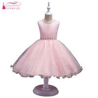 Princesa Rosa vestido flor Niñas vestido para la boda y el Partido perla del o-cuello con cuentas Ruffles pagent vestidos vestido de festa zf040