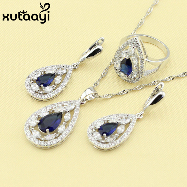 Stunning Blue Created Sapphire White Crystal,Captivating 925 Silver Women Jewelry Set, Necklace Earring Bracelet Pendant Rings