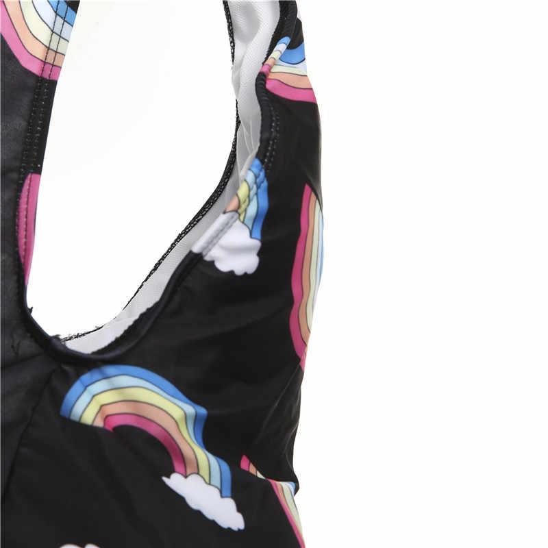 Jeden kawałek jednorożec strój kąpielowy Sexy kobiety bandaż lato wysokiej talii strój kąpielowy Monokini wyściełany Bikini strój kąpielowy