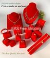 Portable Red Velvet Jewelry Display Set Mannequin For Necklace Pendant Earrings Ring Bracelet Organizer Stand Holder Showase Kit