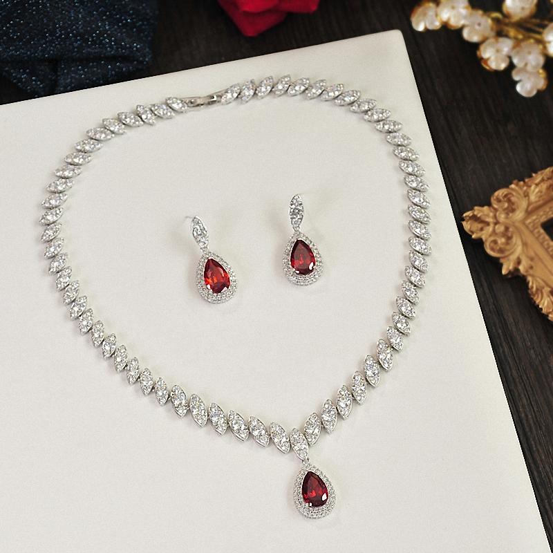 Elegant Charm Bridal Jewelry Sets Classical Rhinestone Water Drop Party Wedding Jewelry Cubic Zircon Necklaces and Earrings