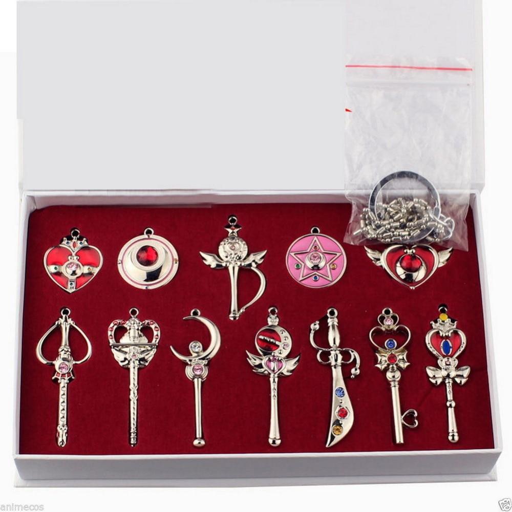 font b Sailor b font font b Moon b font 12pcs set Key Chain Ring