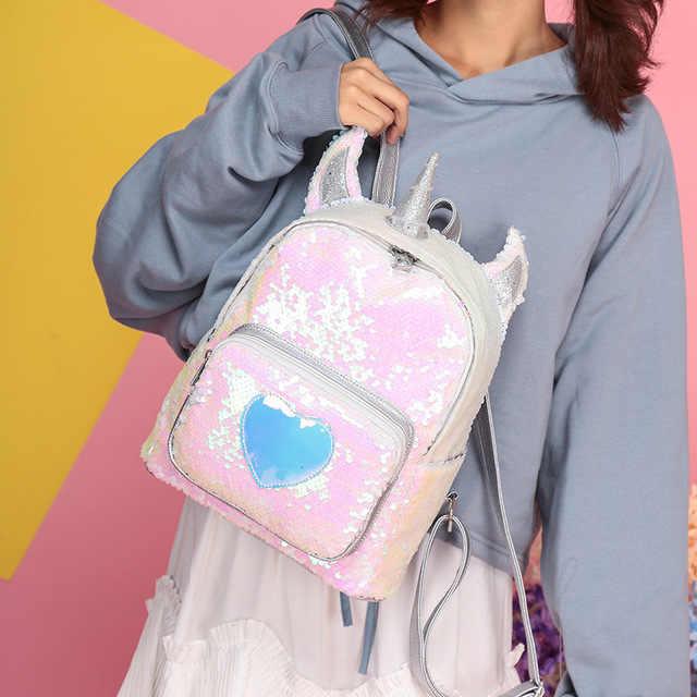 3a257ef382 Rdywbu 2 Way Sequins Unicorn Backpack Fashion Glitter School Book Bag Girls  Cute Hologram Laser PU Leather Travel Mochila B616