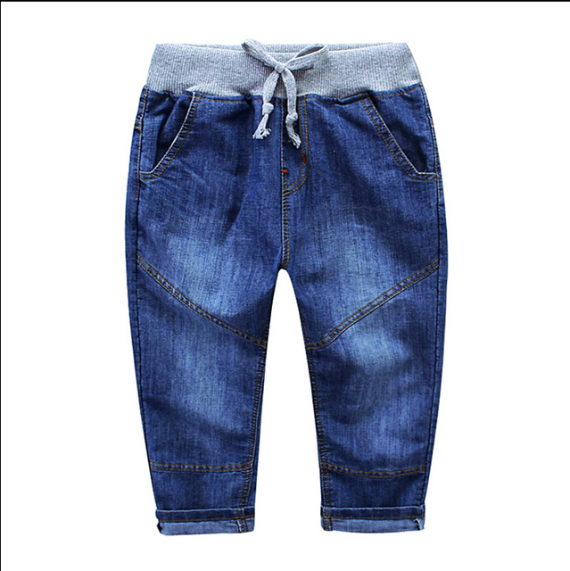 New style Autumn Teens Jeans For Boy Ripped Baby Boys Jeans Pants Designer Kids Jean Children's Elastic Waist Denim Long Pant