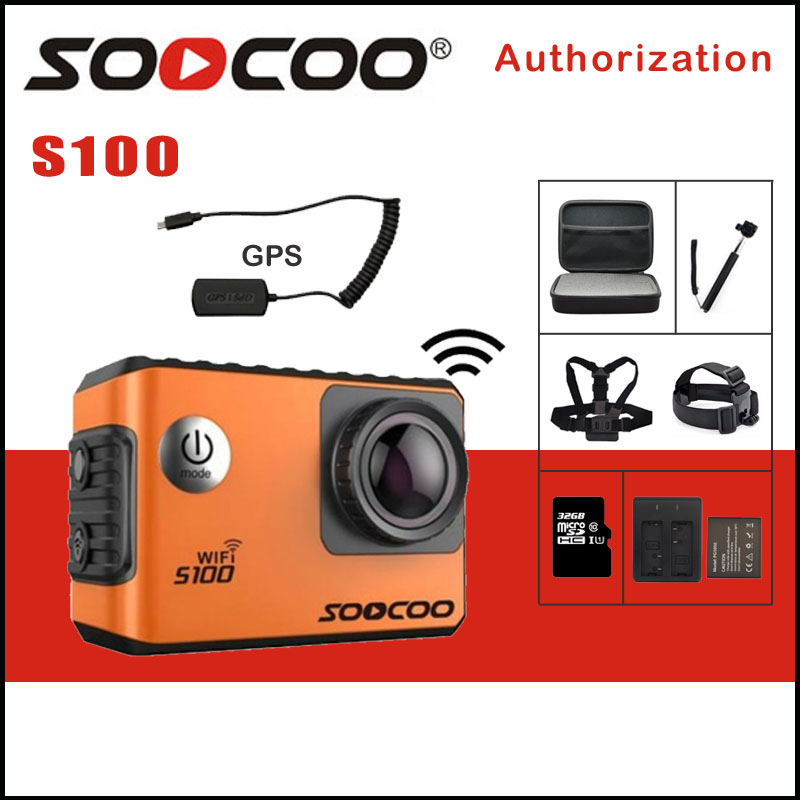 SOOCOO S100 / S100PRO Action Camera 4K Wifi NTK96660 20MP 30M Waterproof Sports Cam Option GPS Gyro Image Stabilization soocoo c30 sports action camera wifi 4k gyro 2 0 lcd ntk96660 30m waterproof adjustable viewing angles