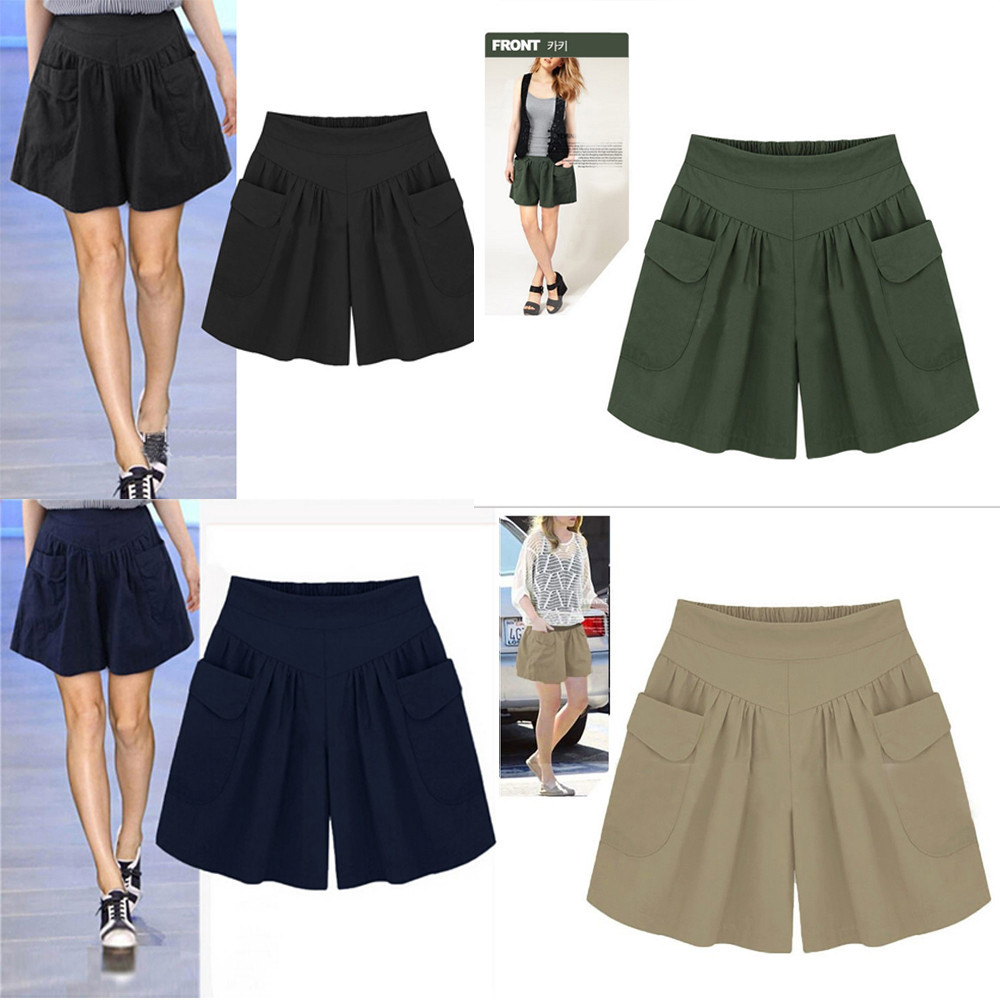 New Women's   shorts   summer   shorts   Cotton Casual High Women Plus Size Solid Loose Hot Pockets Lady Summer Casual   Shorts