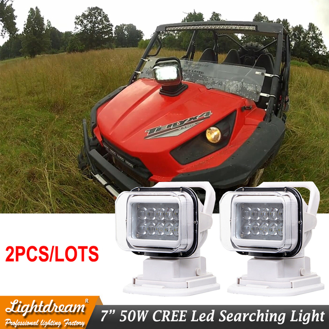 Rotating Remote Control LED Search Light Wireless Working Lamp Emergency Construction Lights for Boat Offroad Car SUV Camping x2