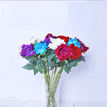 Velvet Cloth Rose Artificial Flowers Bouquet Wedding Decoration Home Bedroom Living Room Plants Crafts Fake 10 pcs/lot