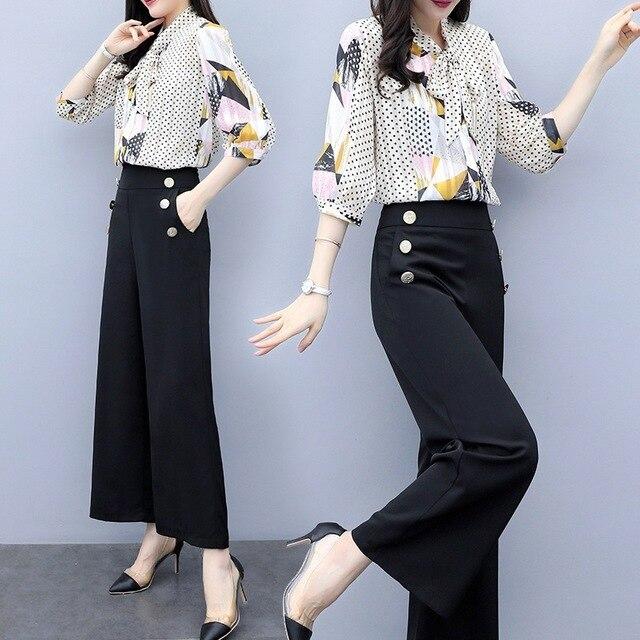 New Women Lady Tie Neck Shirt High Waist Pants Trousers 2pcs Sets Career Office