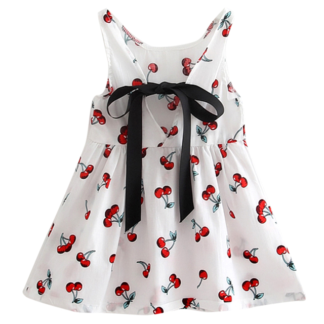 Girls Dress 2017 Summer Clothes Sleeveless Cherry Bow Decor Baby Princess Dresses For Girls Vestidos Baby Girls Clothes