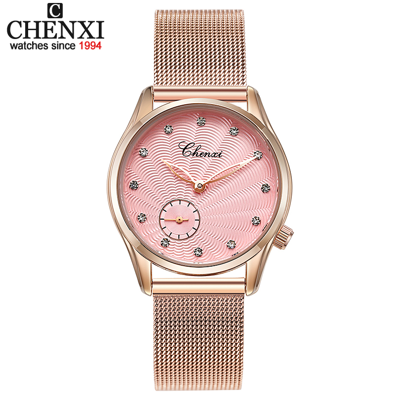 CHENXI Luxury Brand Quartz Watch Women Watches Fashion Clock Reloj Mujer Rose Gold Wristwatches Montre Femme Relogio Masculino luxury fashion watch women watches rose gold women s watches ladies watch clock saat relogio feminino reloj mujer montre femme