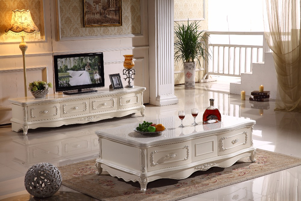 white wooden TV stand storage drawer marble top made in China living room furniture