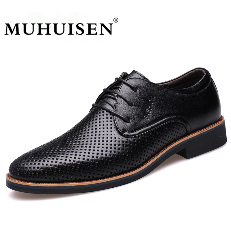 MUHUISEN Summer Men Dress Formal Shoes Breathable Hollow Out Leather Male Oxfords Shoes Casual Business Wedding Shoes