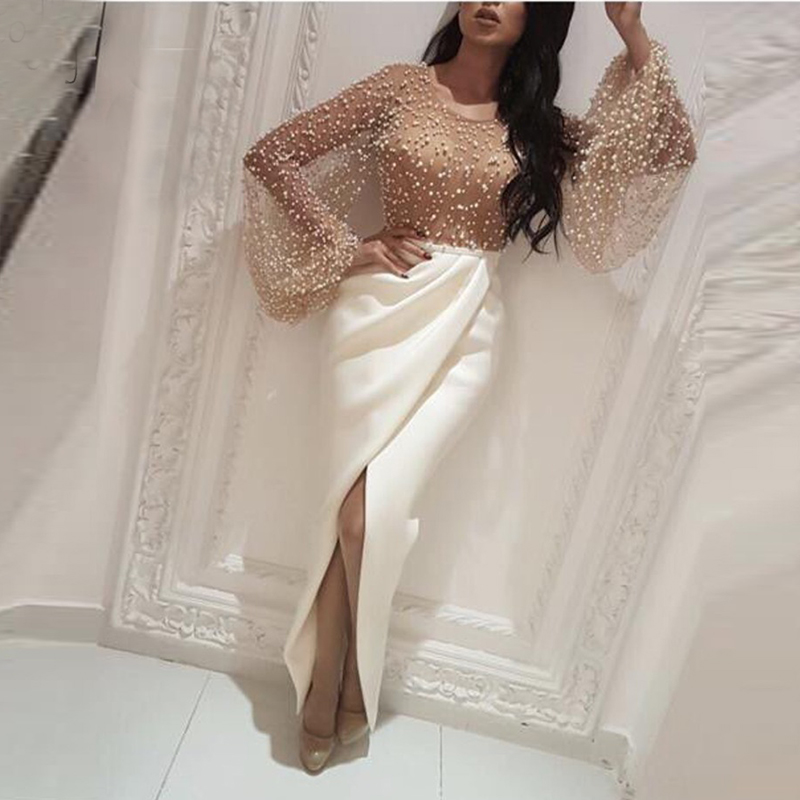 Elegant   Evening     Dress   Pearls 2019 Long Sleeves with Slit Straight Saudi Arabic Women Formal Prom Party Gown robe de soiree