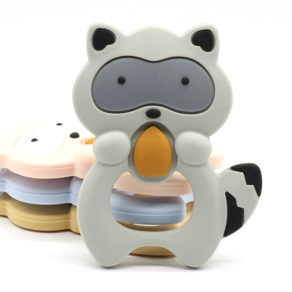1 pcs Silicone Teethers Raccoon Baby Ring Teether BPA Free Silicone Chew Charms