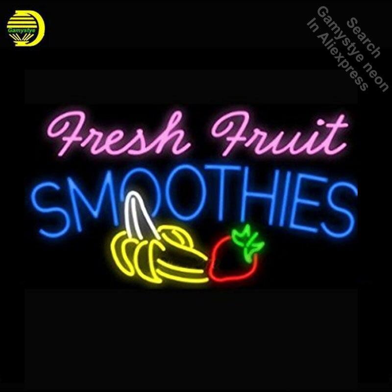 Enseigne au néon pour fruits frais Smoothies Logo Tube néon vintage lumineux signe artisanat lampe magasin affiche Publicidad lampe de poche signe
