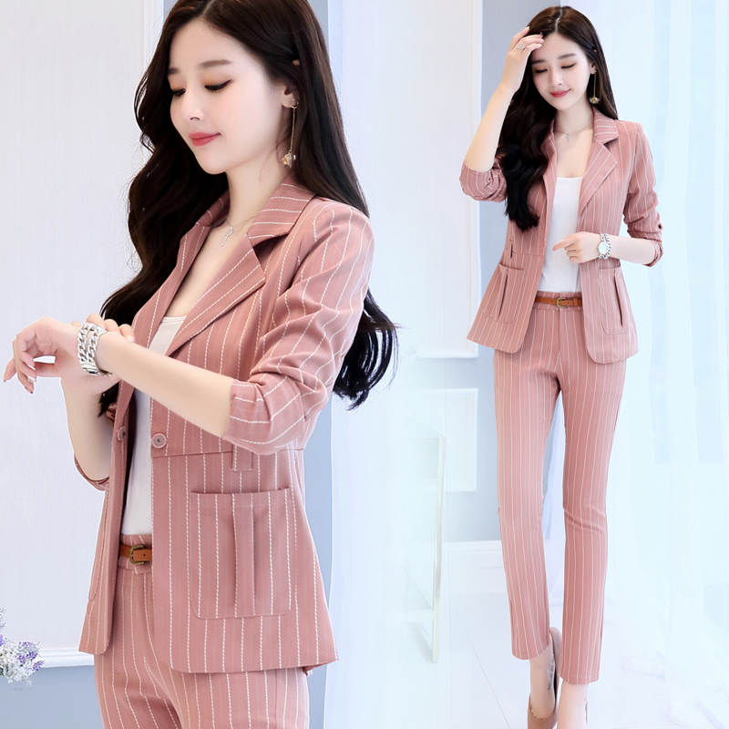 2019 Fashion Suit Female Business OL Formal Pant Suits New Ladies Casual Slim Blazer Stripes Professional