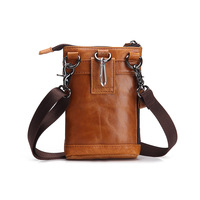 YISHEN Vintage Genuine Leather Waist Bag Men's Multi function Shoulder Bag Fanny Belt Sling Bag For Travel Mobile Phone MS1006 1
