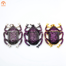 ASA&TESS Gold Black Silver Color beetle pendant Micro Pave CZ Colorful Cubic Zirconia Insect charms