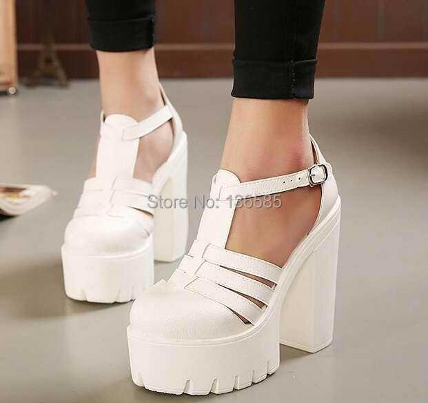 Hebilla negro blanco sandalias de verano sandalias de plataforma 2015 chucky sandalias de tacón alto para