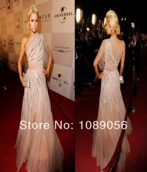 2014 Oscar Awards Dress One-Shoulder Sheer A-Line Tulle Sequined celebrity red carpet 1/2 Sleeve Prom Dresses Evening Gowns - Dress-Shop No.1 store