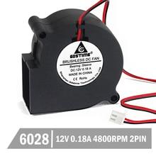 все цены на 200pcs Gdstime 60mm 60x28mm 12V 2Pin Turbo Blower Cooling Fan 6028 6cm Brushless Cooler Cooling DC Centrifugal Blower Fan онлайн
