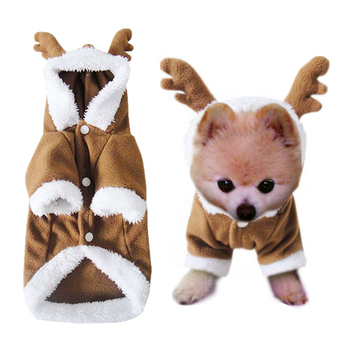 6b5ece5d489 XS-XL mascota perro gato Cosplay disfraz lindo Reno invierno cachorro  abrigo cálido grueso polar mascota Hoody Apparel venta al por mayor 11