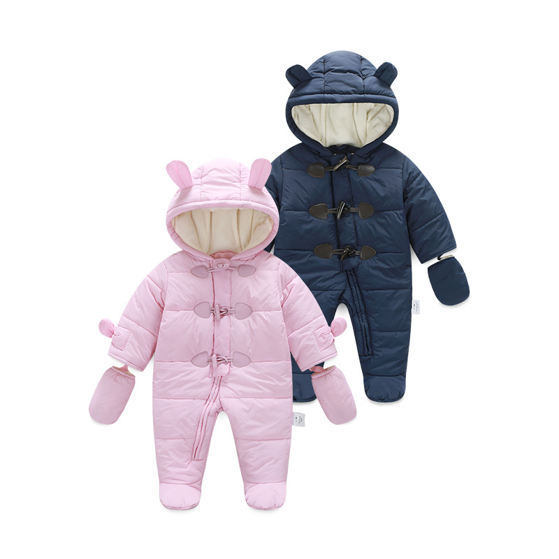 0~2Y Newborn Winter Fleece Lining Romper Hood Baby Boy Clothes Infantil Girl Foot Jumpsuit Bebe Creepers Clothing for Newborns puseky 2017 infant romper baby boys girls jumpsuit newborn bebe clothing hooded toddler baby clothes cute panda romper costumes